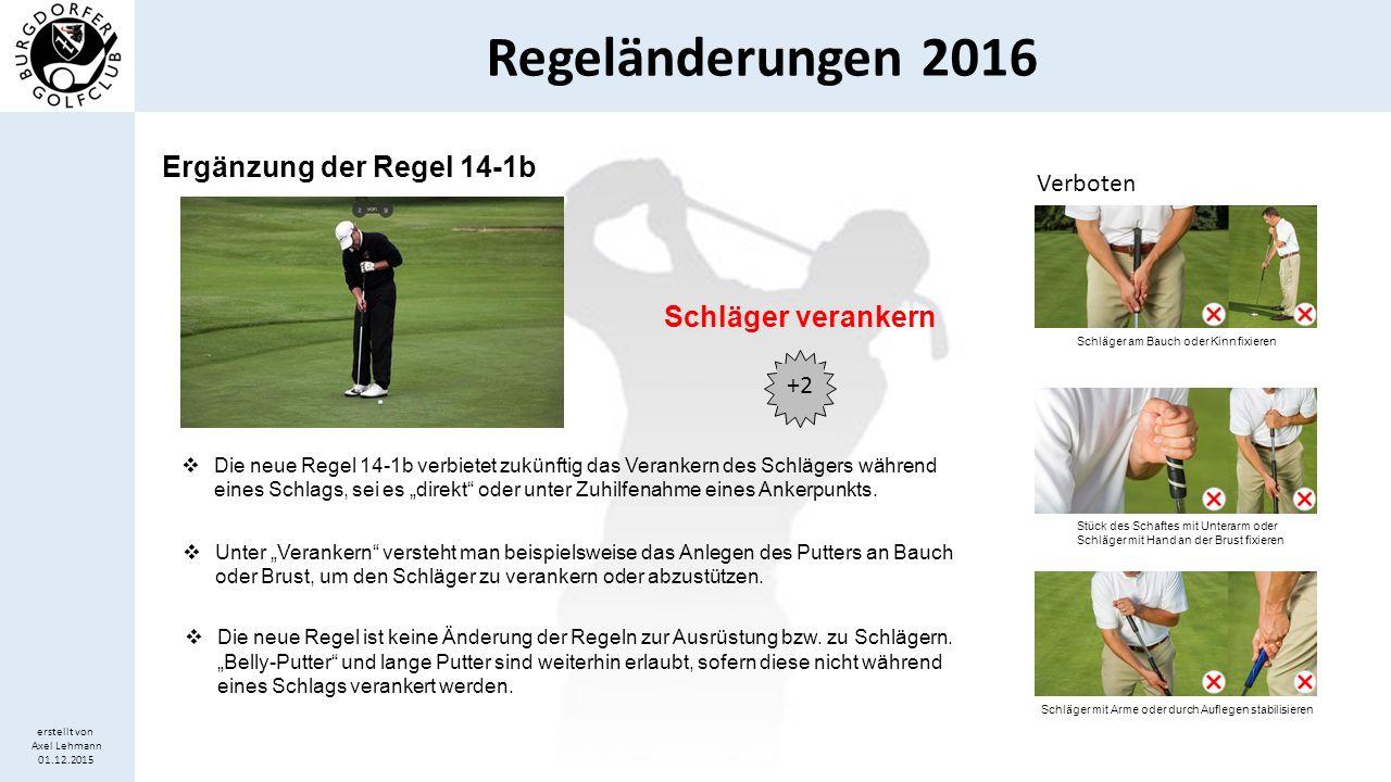 Regeländerungen 2016 erstellt von Axel Lehmann 01.12.2015  Bislang wurde ein Spieler bei einer Nutzung künstlicher Hilfsmittel oder ungebräuchlicher Ausrüstung (z.B.
