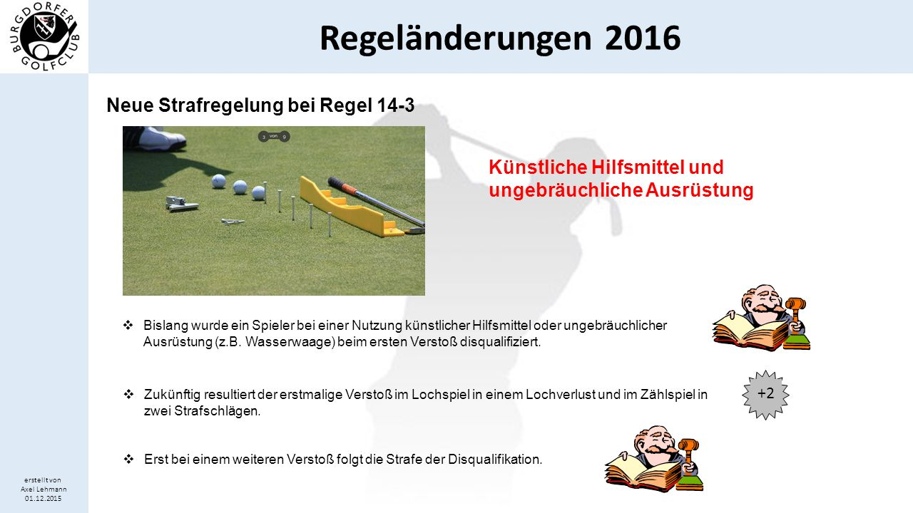 Regeländerungen 2016 erstellt von Axel Lehmann 01.12.2015 Regel 18-2b wird abgeschafft Ball bewegt sich nach Ansprechen  Bislang folgte nach Regel 18-2b ein Strafschlag, wenn sich der Ball beim Ansprechen des Balls bewegt.