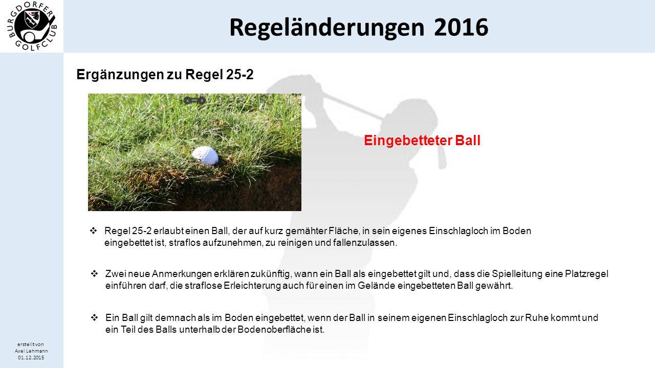 Regeländerungen 2016 erstellt von Axel Lehmann 01.12.2015 Ergänzungen zu Regel 25-2 Eingebetteter Ball  Regel 25-2 erlaubt einen Ball, der auf kurz g