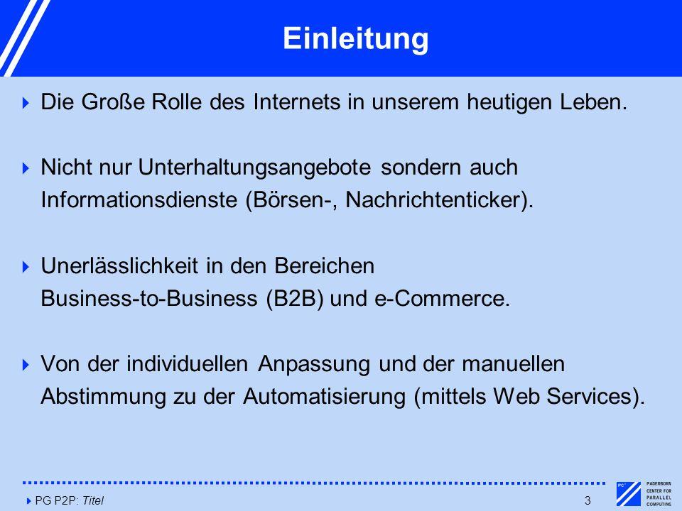 4PG P2P: Titel3 Einleitung  Die Große Rolle des Internets in unserem heutigen Leben.