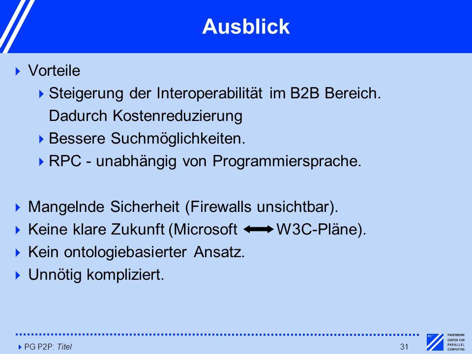 4PG P2P: Titel31 Ausblick  Vorteile  Steigerung der Interoperabilität im B2B Bereich.