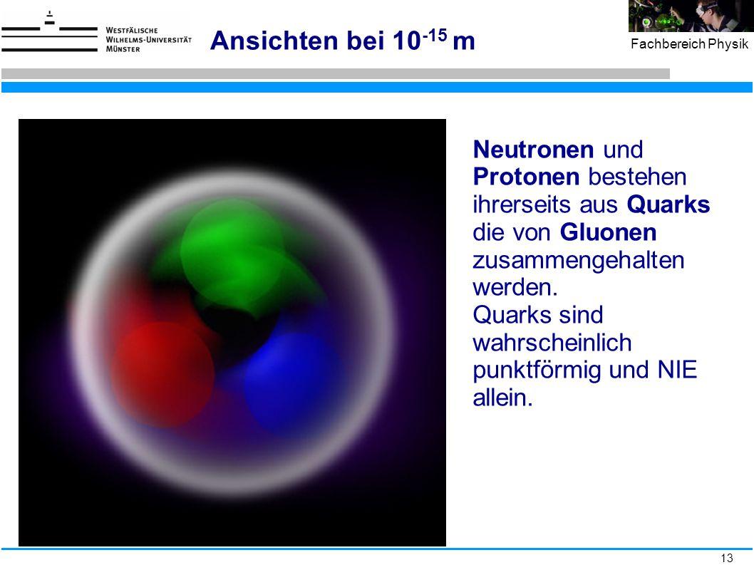 13 Fachbereich Physik Ansichten bei 10 -15 m Neutronen und Protonen bestehen ihrerseits aus Quarks die von Gluonen zusammengehalten werden. Quarks sin