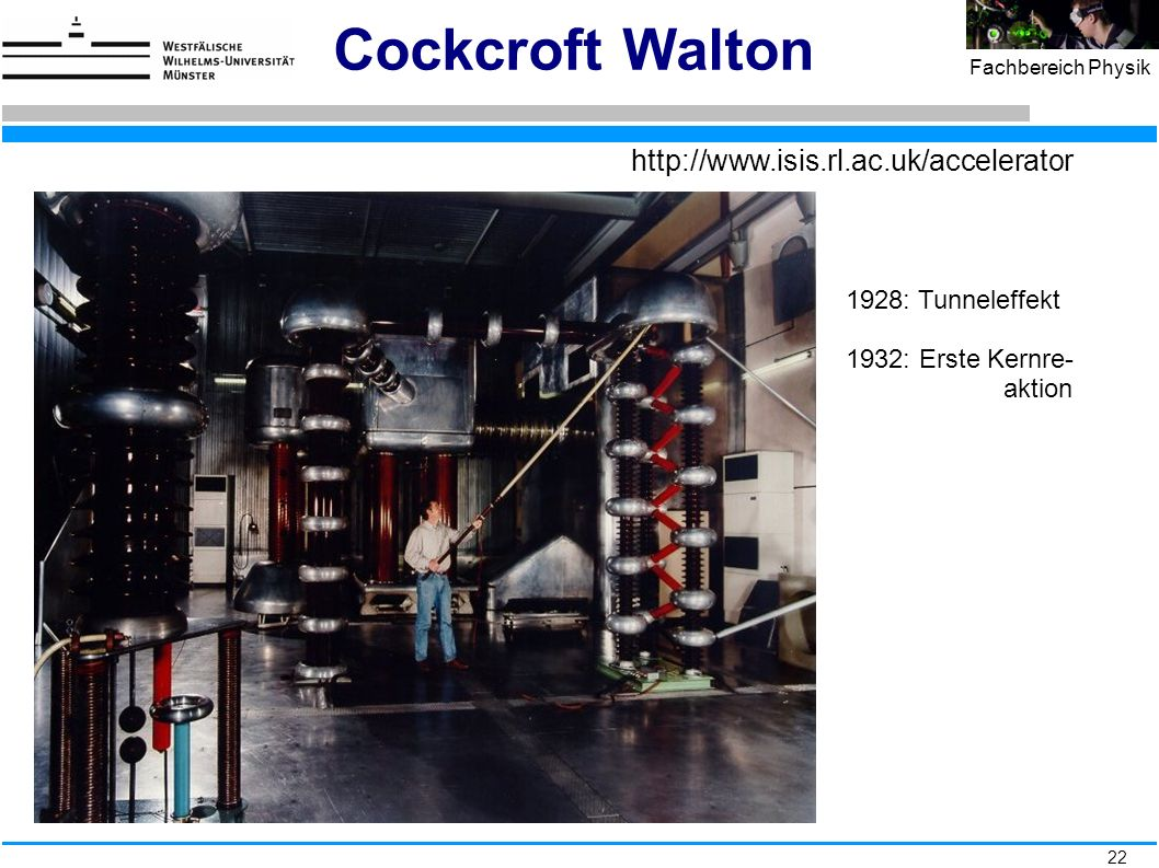 22 Fachbereich Physik Cockcroft Walton http://www.isis.rl.ac.uk/accelerator 1928: Tunneleffekt 1932: Erste Kernre- aktion