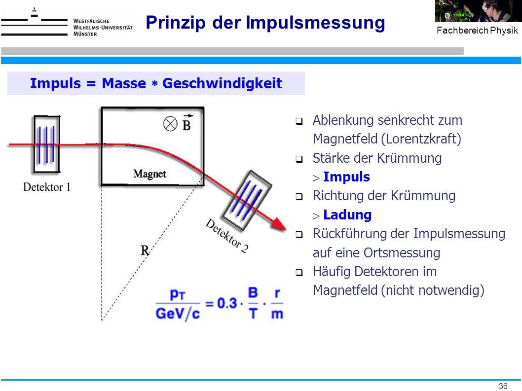 36 Fachbereich Physik Prinzip der Impulsmessung Impuls = Masse  Geschwindigkeit  Ablenkung senkrecht zum Magnetfeld (Lorentzkraft)  Stärke der Krüm