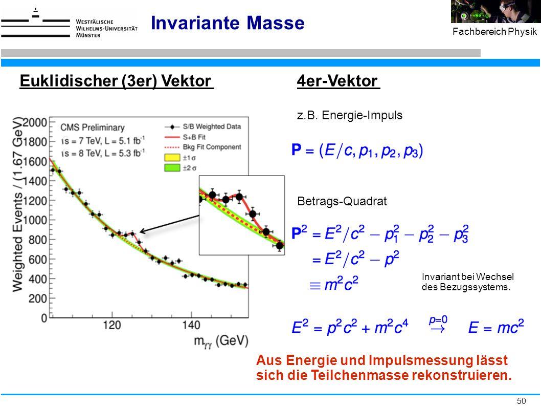 50 Fachbereich Physik Invariante Masse Euklidischer (3er) Vektor Aus Energie und Impulsmessung lässt sich die Teilchenmasse rekonstruieren. 4er-Vektor