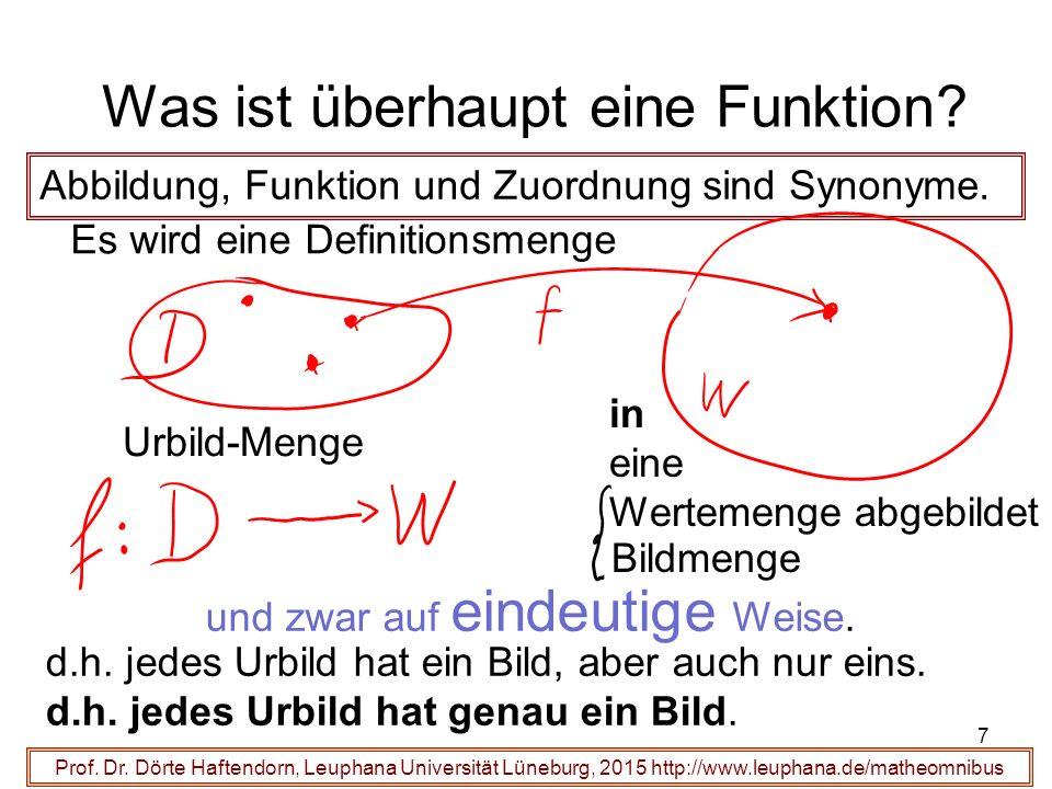 7 Was ist überhaupt eine Funktion? Prof. Dr. Dörte Haftendorn, Leuphana Universität Lüneburg, 2015 http://www.leuphana.de/matheomnibus Abbildung, Funk