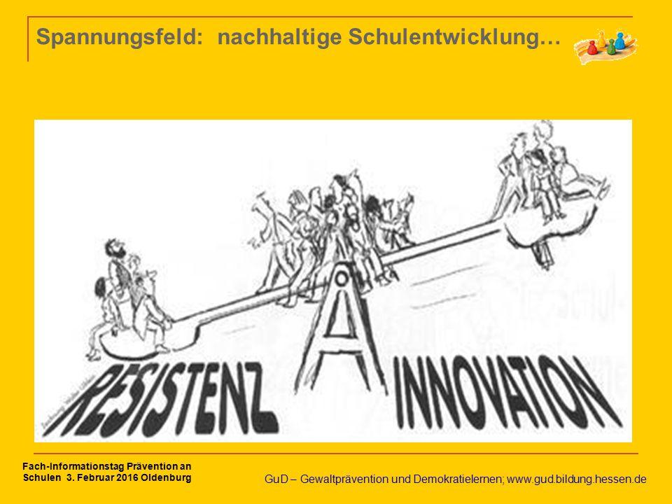 Spannungsfeld: nachhaltige Schulentwicklung… GuD – Gewaltprävention und Demokratielernen; www.gud.bildung.hessen.de Fach-Informationstag Prävention an Schulen 3.