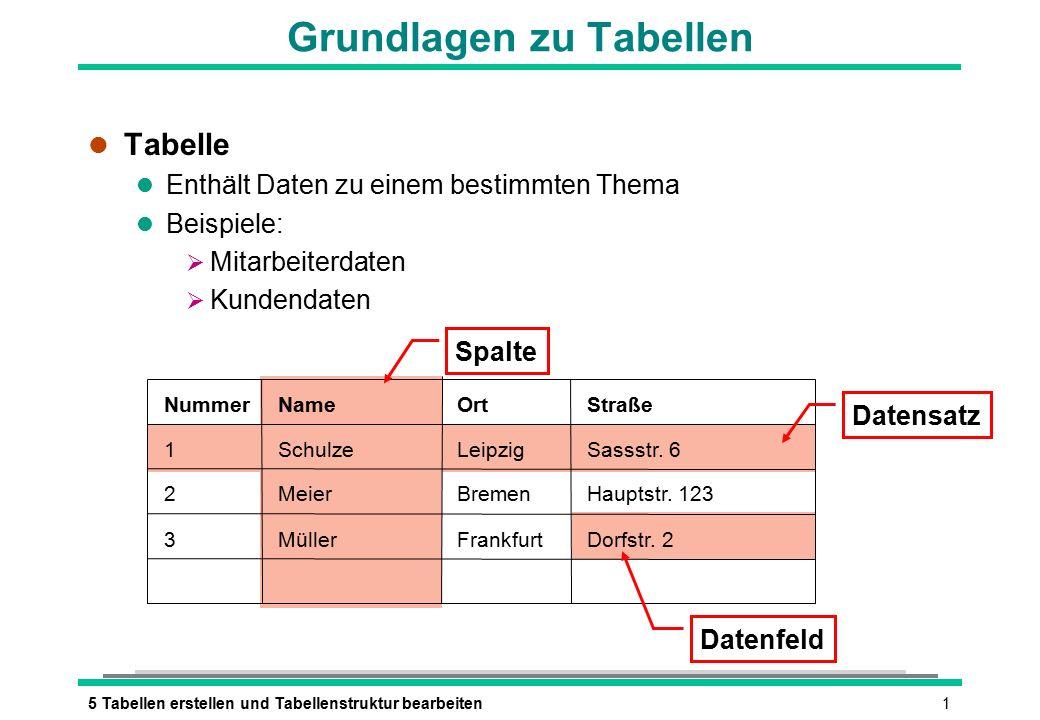 15 Tabellen erstellen und Tabellenstruktur bearbeiten Grundlagen zu Tabellen l Tabelle l Enthält Daten zu einem bestimmten Thema l Beispiele:  Mitarbeiterdaten  Kundendaten NummerNameOrtStraße 1 2 3 Meier Müller SchulzeLeipzig Bremen Frankfurt Sassstr.