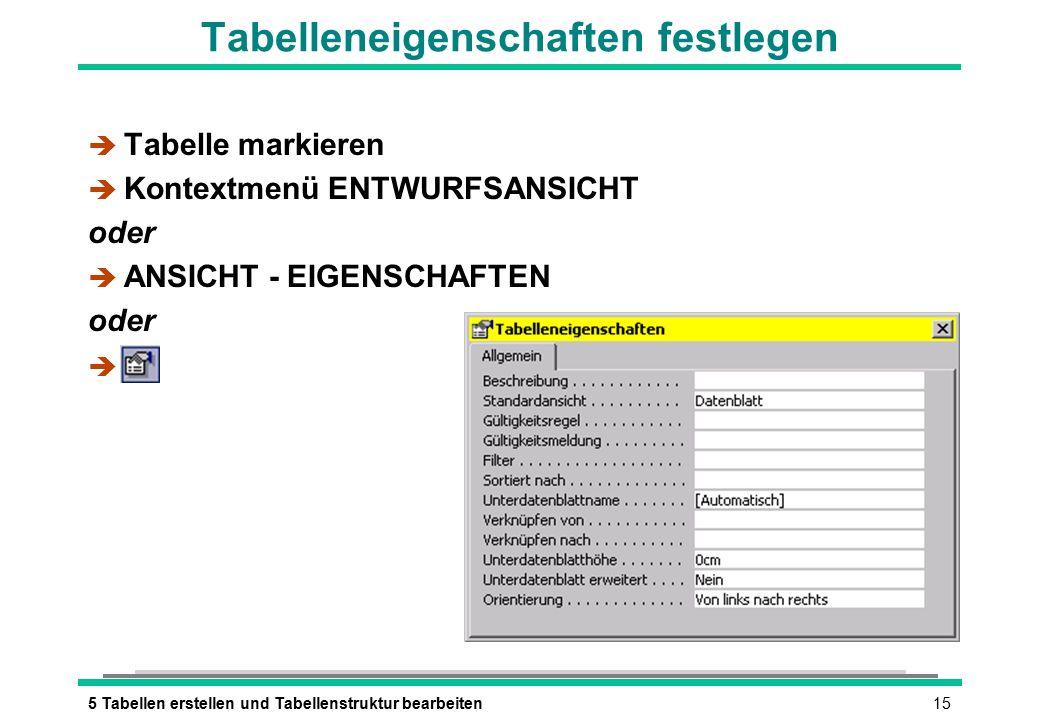 155 Tabellen erstellen und Tabellenstruktur bearbeiten Tabelleneigenschaften festlegen è Tabelle markieren è Kontextmenü ENTWURFSANSICHT oder è ANSICHT - EIGENSCHAFTEN oder è