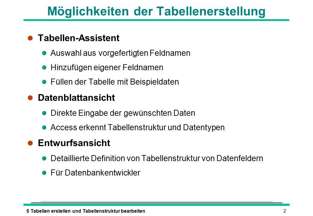 35 Tabellen erstellen und Tabellenstruktur bearbeiten Überlegungen zum Tabellenentwurf l Eine Tabelle sollte Informationen zu einem bestimmten Thema beinhalten.