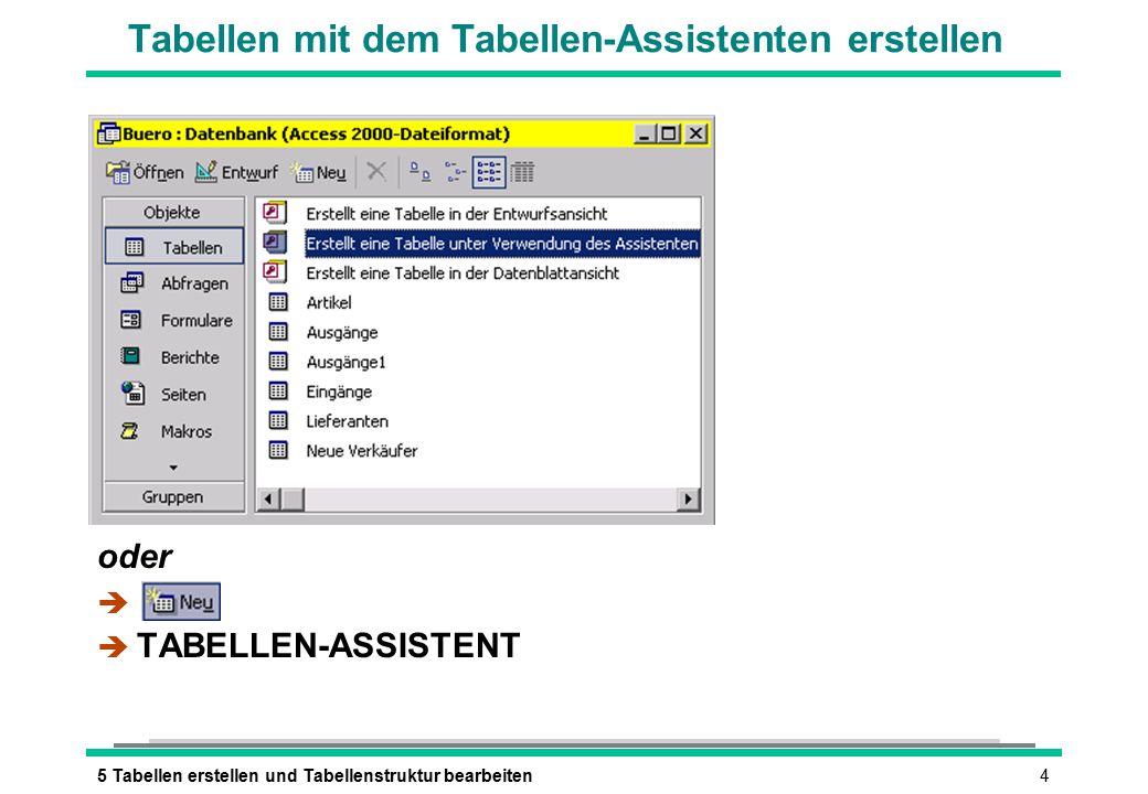 55 Tabellen erstellen und Tabellenstruktur bearbeiten Tabellen-Assistent: Felder Beispieltabelle auswählen Vorbereitete Felder auswählen