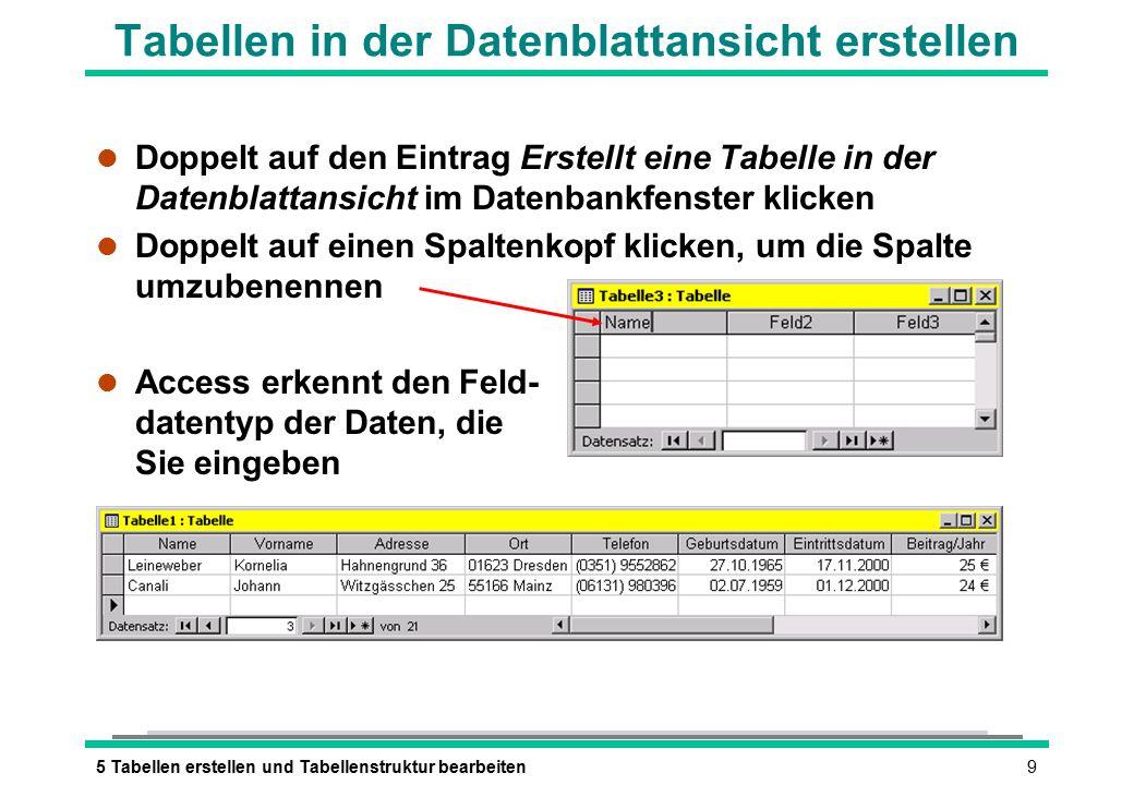 95 Tabellen erstellen und Tabellenstruktur bearbeiten Tabellen in der Datenblattansicht erstellen l Doppelt auf den Eintrag Erstellt eine Tabelle in der Datenblattansicht im Datenbankfenster klicken l Doppelt auf einen Spaltenkopf klicken, um die Spalte umzubenennen l Access erkennt den Feld- datentyp der Daten, die Sie eingeben