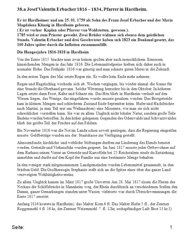 Seite:1 38.a Josef Valentin Erbacher 1816 – 1834, Pfarrer in Hardheim.