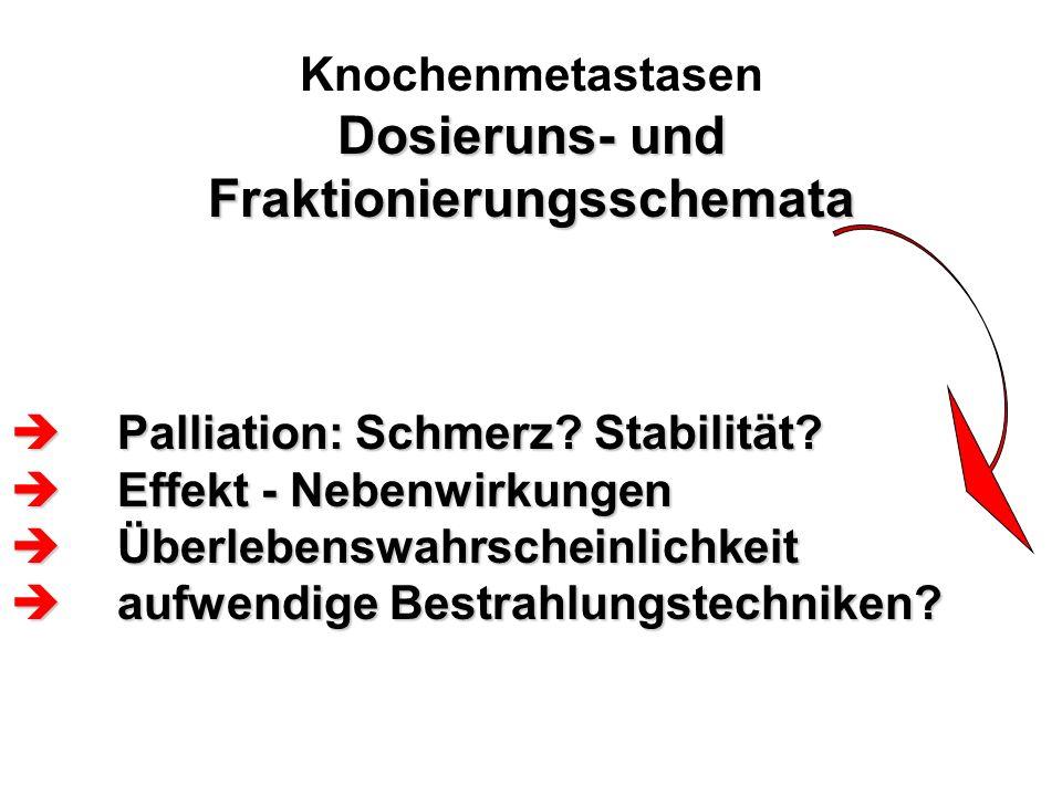 Dosieruns- und Fraktionierungsschemata Knochenmetastasen Dosieruns- und Fraktionierungsschemata  Palliation: Schmerz? Stabilität?  Effekt - Nebenwir