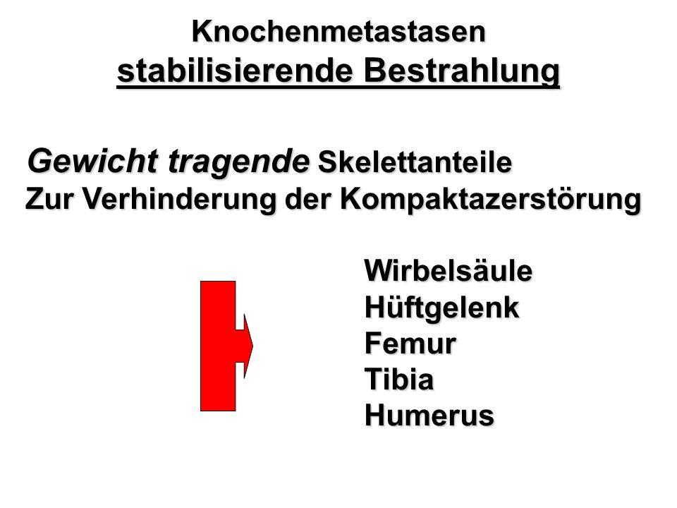 Knochenmetastasen stabilisierende Bestrahlung Gewicht tragende Skelettanteile Zur Verhinderung der Kompaktazerstörung WirbelsäuleHüftgelenkFemurTibiaH