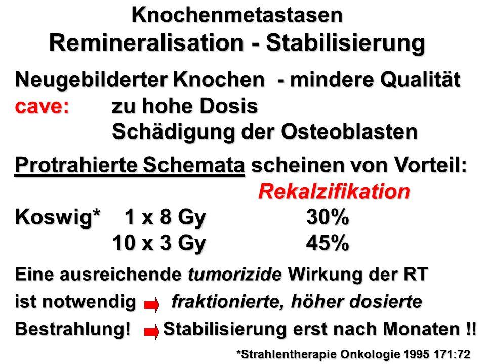 Knochenmetastasen Remineralisation - Stabilisierung Neugebilderter Knochen - mindere Qualität cave: zu hohe Dosis Schädigung der Osteoblasten Protrahi