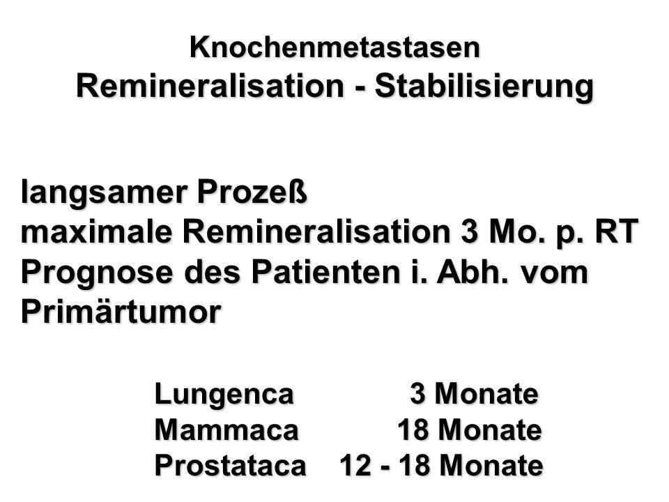 Knochenmetastasen Remineralisation - Stabilisierung langsamer Prozeß maximale Remineralisation 3 Mo. p. RT Prognose des Patienten i. Abh. vom Primärtu