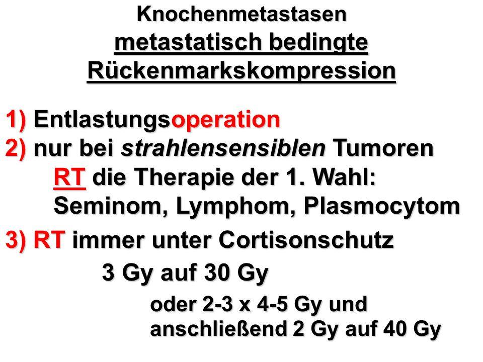 Knochenmetastasen metastatisch bedingte Rückenmarkskompression 1) Entlastungsoperation 2) nur bei strahlensensiblen Tumoren RT die Therapie der 1. Wah