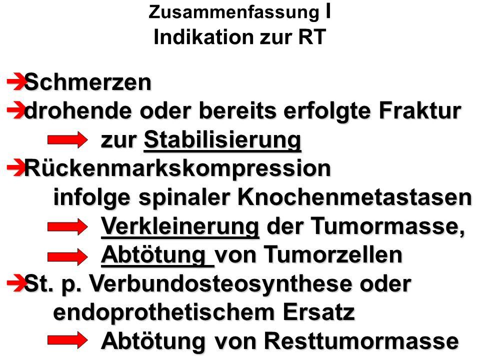 Zusammenfassung I Indikation zur RT  Schmerzen  drohende oder bereits erfolgte Fraktur zur Stabilisierung  Rückenmarkskompression infolge spinaler