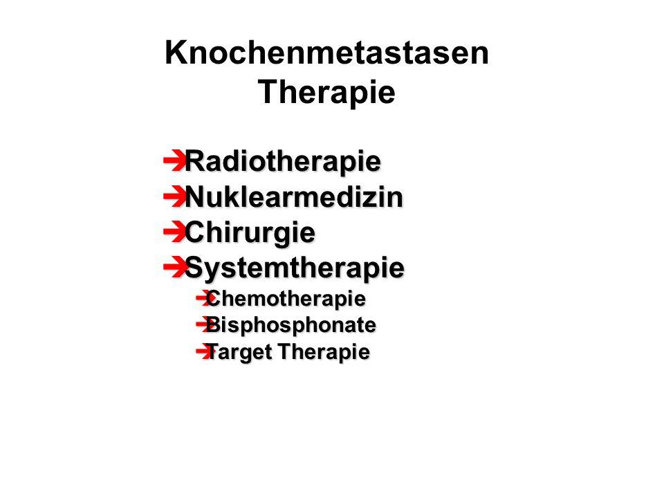 Knochenmetastasen Therapie  Radiotherapie  Nuklearmedizin  Chirurgie  Systemtherapie  Chemotherapie  Bisphosphonate  Target Therapie