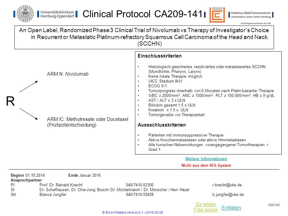 Entitäten Zur letzten Folie zurück Clinical Protocol CA209-141 An Open Label, Randomized Phase 3 Clinical Trial of Nivolumab vs Therapy of Investigato