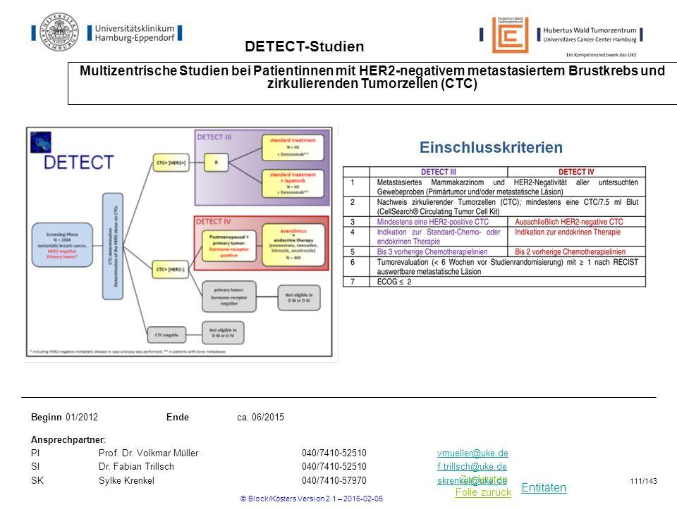 Entitäten Zur letzten Folie zurück DETECT-Studien Multizentrische Studien bei Patientinnen mit HER2-negativem metastasiertem Brustkrebs und zirkulierenden Tumorzellen (CTC) Beginn 01/2012Ende ca.