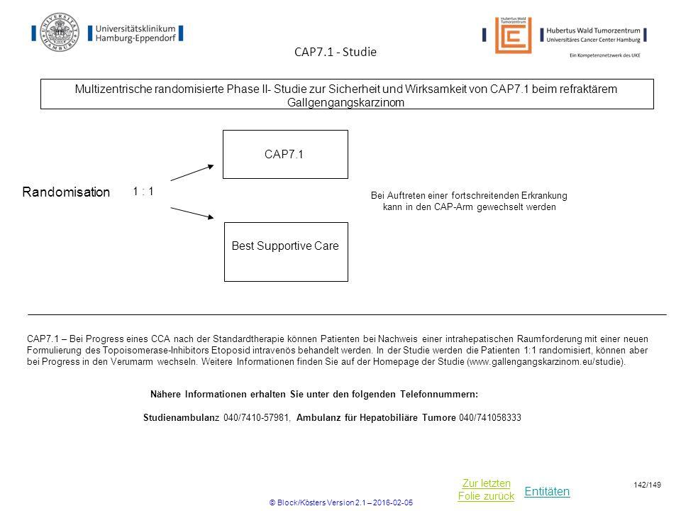 Entitäten Zur letzten Folie zurück CAP7.1 – Bei Progress eines CCA nach der Standardtherapie können Patienten bei Nachweis einer intrahepatischen Raumforderung mit einer neuen Formulierung des Topoisomerase-Inhibitors Etoposid intravenös behandelt werden.