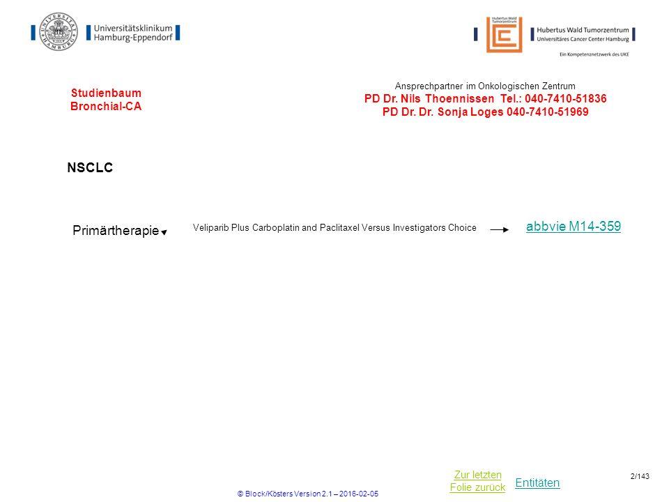 Entitäten Zur letzten Folie zurück Studienbaum Bronchial-CA Ansprechpartner im Onkologischen Zentrum PD Dr.