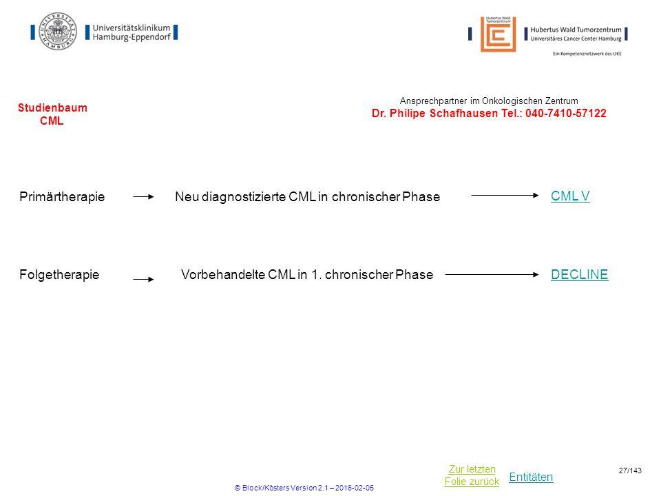 Entitäten Zur letzten Folie zurück Studienbaum CML PrimärtherapieNeu diagnostizierte CML in chronischer Phase CML V Ansprechpartner im Onkologischen Zentrum Dr.