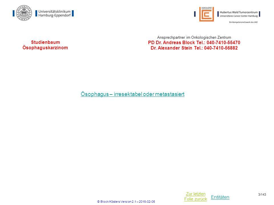 Entitäten Zur letzten Folie zurück Studienbaum Ösophaguskarzinom (irresektabel oder metastasiert) LEOPARD II Plattenepithel-/ Adenokarzinom nicht metastasiert / lokal fortgeschritten / irresektabel UKE*, HOPA* * UKE= Universitätsklinikum Hamburg Eppendorf-II.