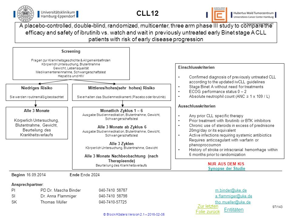 Entitäten Zur letzten Folie zurück CLL12 Einschlusskriterien Confirmed diagnosis of previously untreated CLL according to the updated iwCLL guidelines