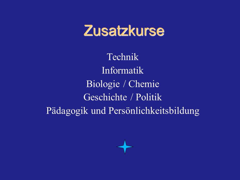 Zusatzkurse Technik Informatik Biologie / Chemie Geschichte / Politik Pädagogik und Persönlichkeitsbildung