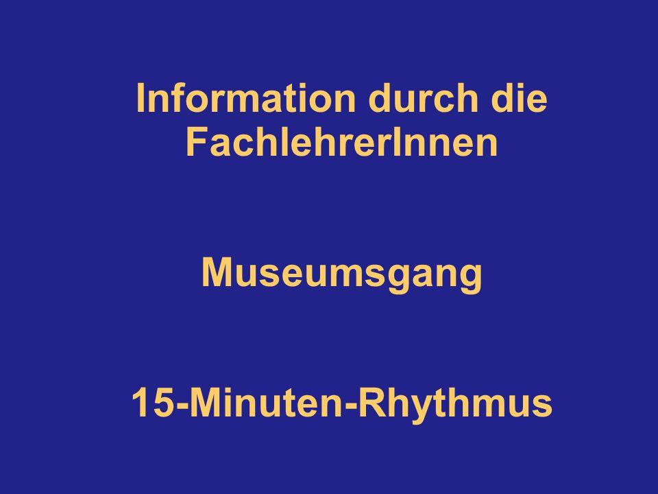Information durch die FachlehrerInnen Museumsgang 15-Minuten-Rhythmus
