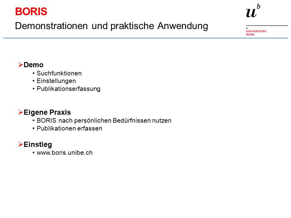 BORIS Demonstrationen und praktische Anwendung  Demo Suchfunktionen Einstellungen Publikationserfassung  Eigene Praxis BORIS nach persönlichen Bedürfnissen nutzen Publikationen erfassen  Einstieg www.boris.unibe.ch