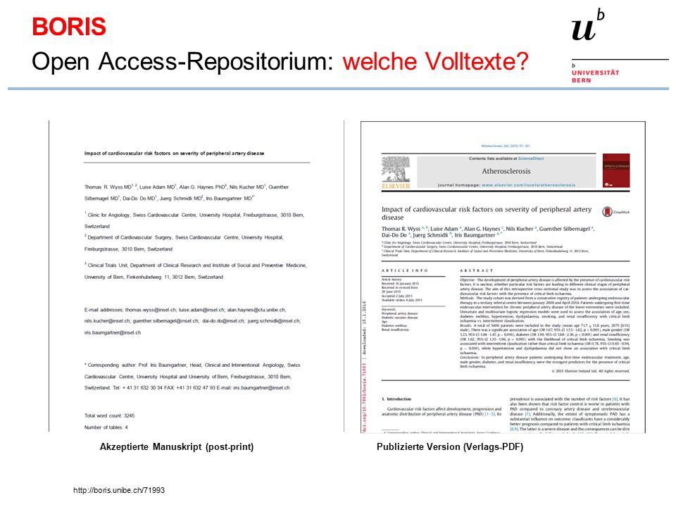 http://boris.unibe.ch/71993 Akzeptierte Manuskript (post-print)Publizierte Version (Verlags-PDF) BORIS Open Access-Repositorium: welche Volltexte?