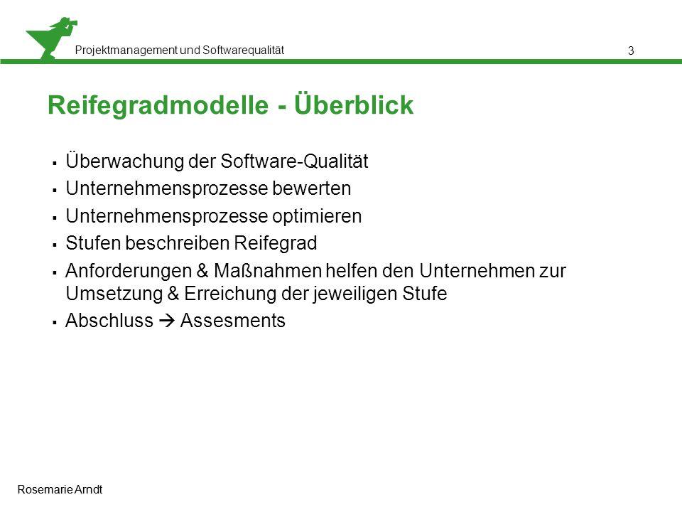 Projektmanagement und Softwarequalität Rosemarie Arndt 3 Reifegradmodelle - Überblick  Überwachung der Software-Qualität  Unternehmensprozesse bewer