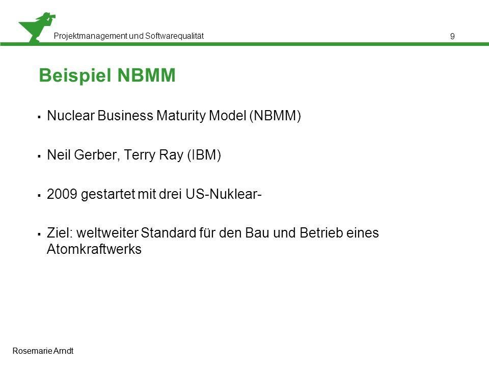 Projektmanagement und Softwarequalität Rosemarie Arndt 9 Beispiel NBMM  Nuclear Business Maturity Model (NBMM)  Neil Gerber, Terry Ray (IBM)  2009