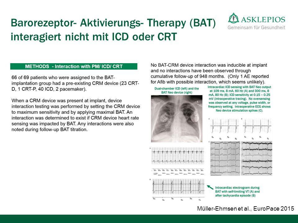 Barorezeptor- Aktivierungs- Therapy (BAT) interagiert nicht mit ICD oder CRT Müller-Ehmsen et al., EuroPace 2015