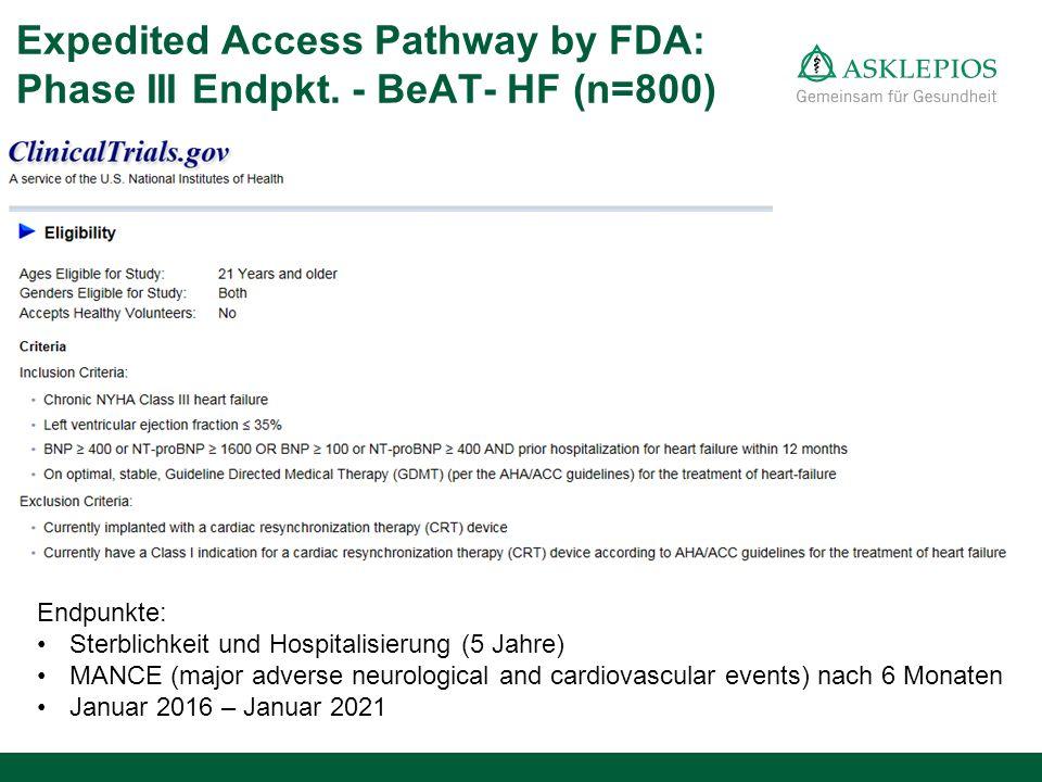 Expedited Access Pathway by FDA: Phase III Endpkt. - BeAT- HF (n=800) Endpunkte: Sterblichkeit und Hospitalisierung (5 Jahre) MANCE (major adverse neu