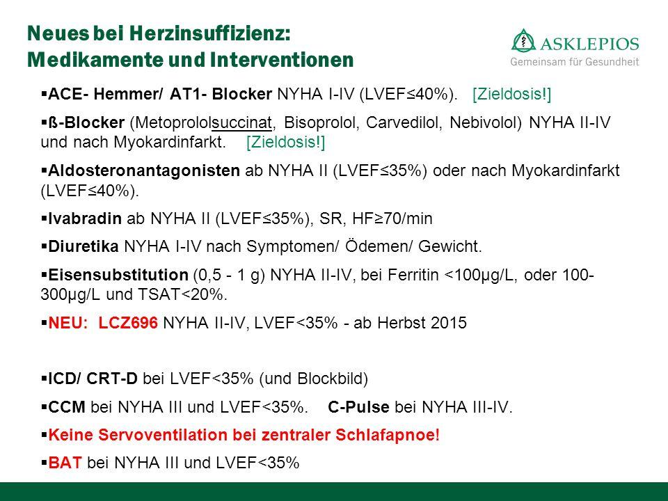 Neues bei Herzinsuffizienz: Medikamente und Interventionen  ACE- Hemmer/ AT1- Blocker NYHA I-IV (LVEF≤40%). [Zieldosis!]  ß-Blocker (Metoprololsucci