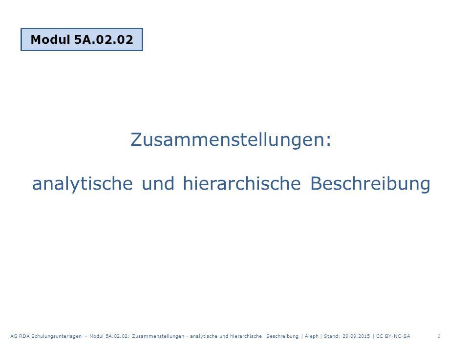 Zusammenstellungen: analytische und hierarchische Beschreibung Modul 5A.02.02 2 AG RDA Schulungsunterlagen – Modul 5A.02.02: Zusammenstellungen - analytische und hierarchische Beschreibung | Aleph | Stand: 29.09.2015 | CC BY-NC-SA