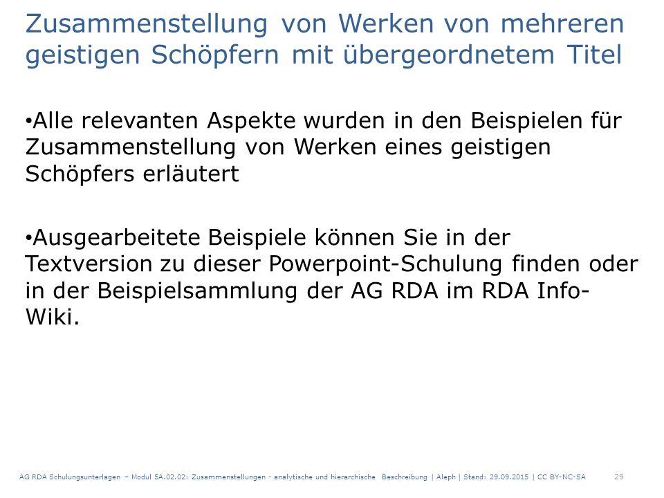 Zusammenstellung von Werken von mehreren geistigen Schöpfern mit übergeordnetem Titel Alle relevanten Aspekte wurden in den Beispielen für Zusammenstellung von Werken eines geistigen Schöpfers erläutert Ausgearbeitete Beispiele können Sie in der Textversion zu dieser Powerpoint-Schulung finden oder in der Beispielsammlung der AG RDA im RDA Info- Wiki.