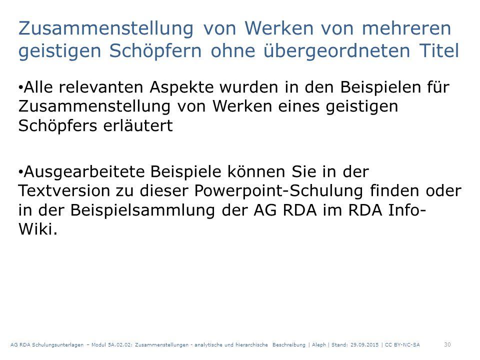 Zusammenstellung von Werken von mehreren geistigen Schöpfern ohne übergeordneten Titel Alle relevanten Aspekte wurden in den Beispielen für Zusammenstellung von Werken eines geistigen Schöpfers erläutert Ausgearbeitete Beispiele können Sie in der Textversion zu dieser Powerpoint-Schulung finden oder in der Beispielsammlung der AG RDA im RDA Info- Wiki.