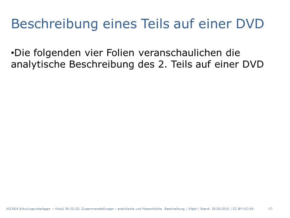 Beschreibung eines Teils auf einer DVD Die folgenden vier Folien veranschaulichen die analytische Beschreibung des 2.