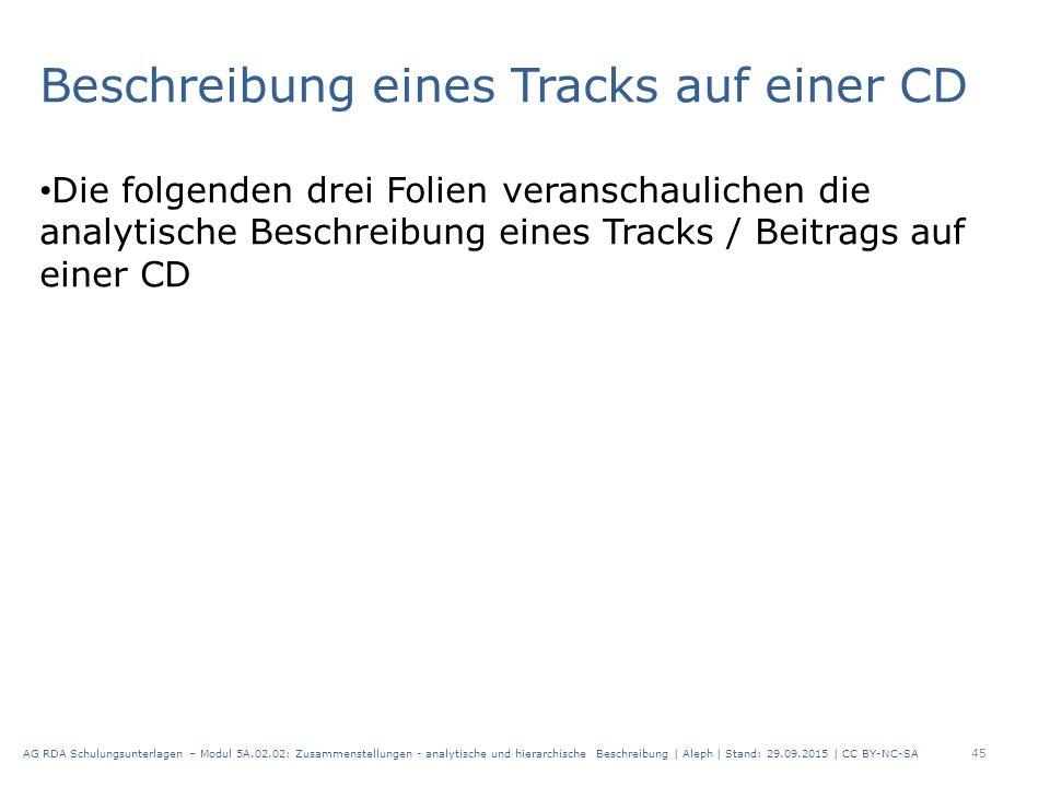 Beschreibung eines Tracks auf einer CD Die folgenden drei Folien veranschaulichen die analytische Beschreibung eines Tracks / Beitrags auf einer CD 45 AG RDA Schulungsunterlagen – Modul 5A.02.02: Zusammenstellungen - analytische und hierarchische Beschreibung | Aleph | Stand: 29.09.2015 | CC BY-NC-SA