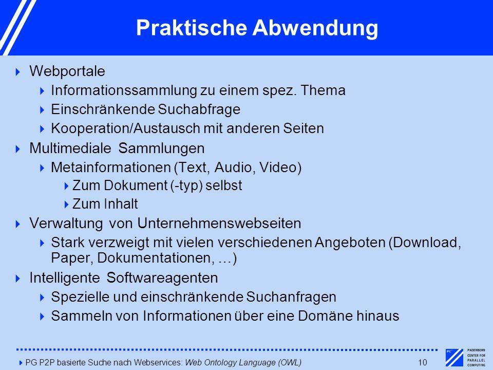 4PG P2P basierte Suche nach Webservices: Web Ontology Language (OWL)10 Praktische Abwendung  Webportale  Informationssammlung zu einem spez. Thema 