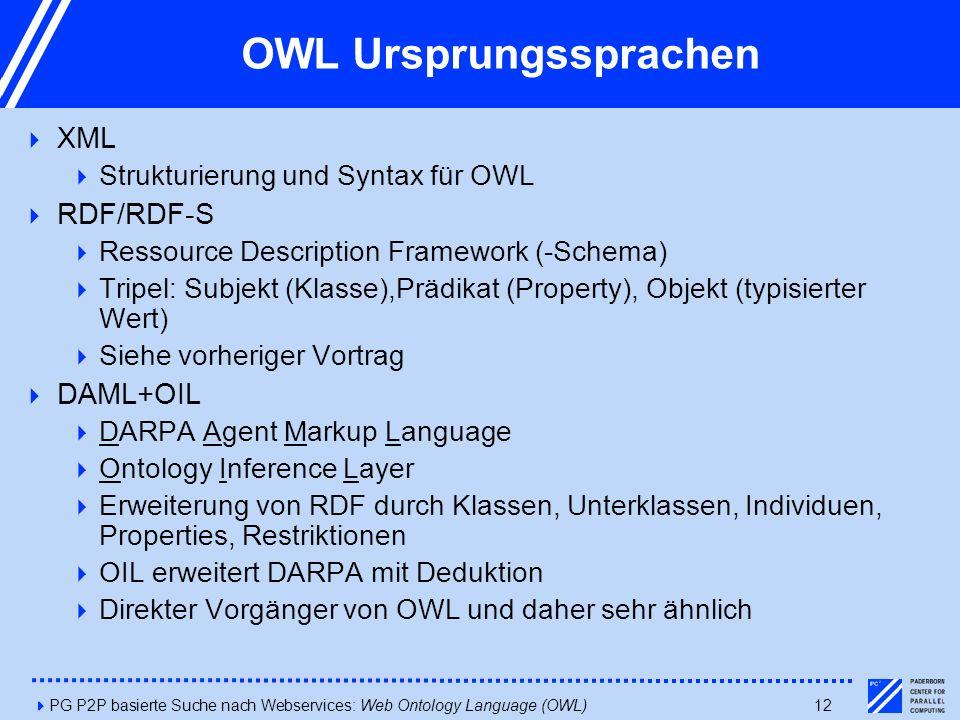 4PG P2P basierte Suche nach Webservices: Web Ontology Language (OWL)12 OWL Ursprungssprachen  XML  Strukturierung und Syntax für OWL  RDF/RDF-S  Ressource Description Framework (-Schema)  Tripel: Subjekt (Klasse),Prädikat (Property), Objekt (typisierter Wert)  Siehe vorheriger Vortrag  DAML+OIL  DARPA Agent Markup Language  Ontology Inference Layer  Erweiterung von RDF durch Klassen, Unterklassen, Individuen, Properties, Restriktionen  OIL erweitert DARPA mit Deduktion  Direkter Vorgänger von OWL und daher sehr ähnlich