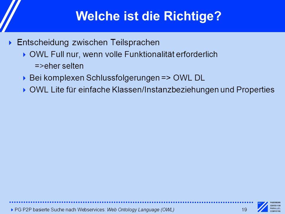 4PG P2P basierte Suche nach Webservices: Web Ontology Language (OWL)19 Welche ist die Richtige?  Entscheidung zwischen Teilsprachen  OWL Full nur, w