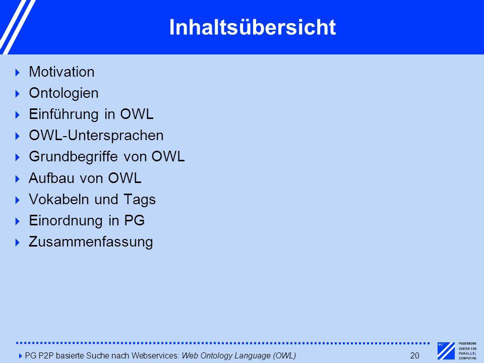 4PG P2P basierte Suche nach Webservices: Web Ontology Language (OWL)20 Inhaltsübersicht  Motivation  Ontologien  Einführung in OWL  OWL-Untersprachen  Grundbegriffe von OWL  Aufbau von OWL  Vokabeln und Tags  Einordnung in PG  Zusammenfassung