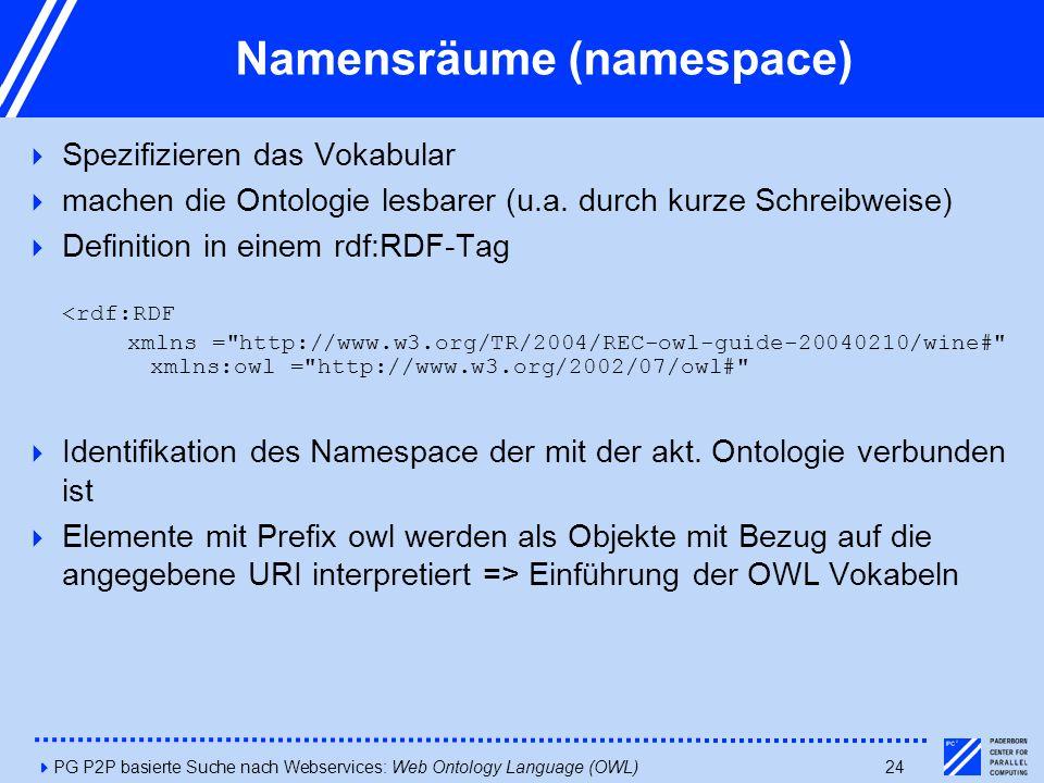 4PG P2P basierte Suche nach Webservices: Web Ontology Language (OWL)24 Namensräume (namespace)  Spezifizieren das Vokabular  machen die Ontologie lesbarer (u.a.